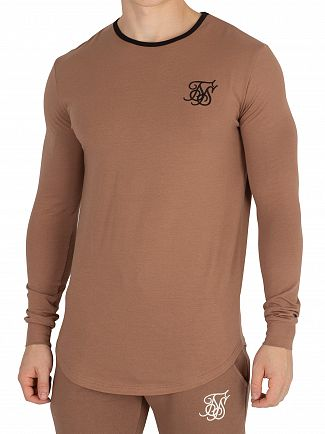 Sik Silk Tan Ringer Gym Longsleeved T-Shirt
