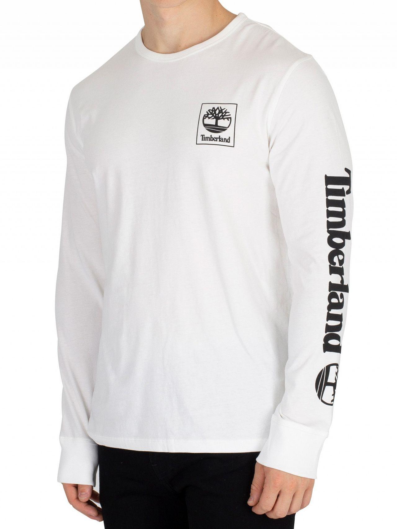 Timberland White Longsleeved Seasonal T-Shirt   Standout 5a31b885e0
