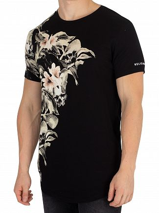 Religion Black Botanical Curve Hem T-Shirt