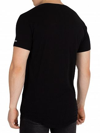 Religion Black Botanical Curve Hem T-Shirt