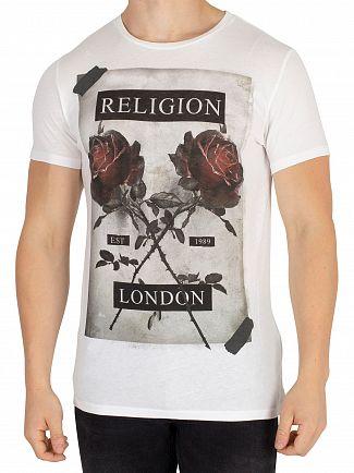 Religion White Cross Rose T-Shirt