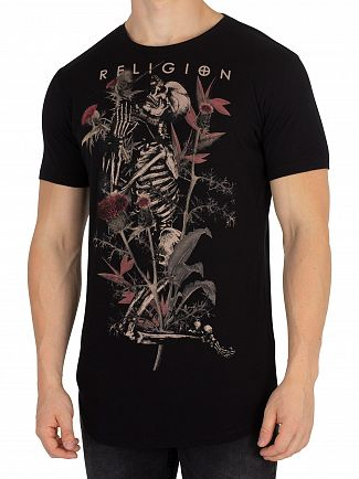 Religion Black Thistle Skeleton T-Shirt