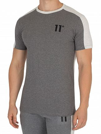 11 Degrees Charcoal/Snow Marl Block T-Shirt