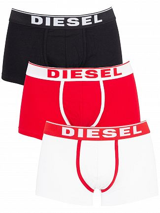 Diesel White/Red/Black 3 Pack Fresh & Bright Trunks