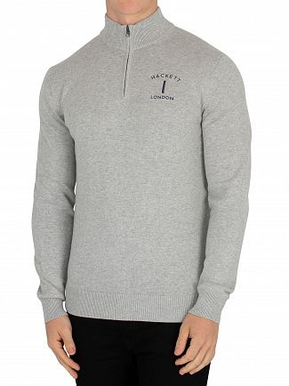 Hackett London Grey Classic Zip Jumper