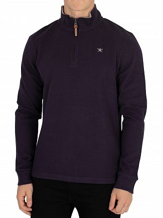 Hackett London Navy French Rib Zip Sweatshirt