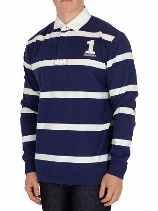 Hackett London Blue/White Rugby Poloshirt