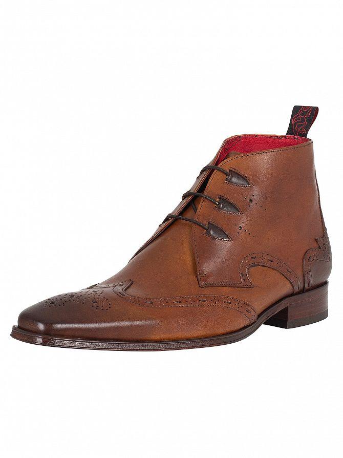 Jeffery West Castano Lea Dark Brown Lace Up Boots