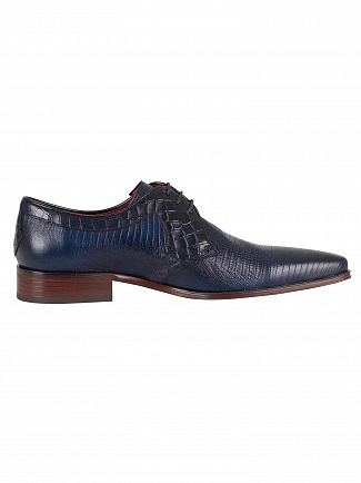 Jeffery West Dark Blue Lizard Crocodile Lace Up Shoes