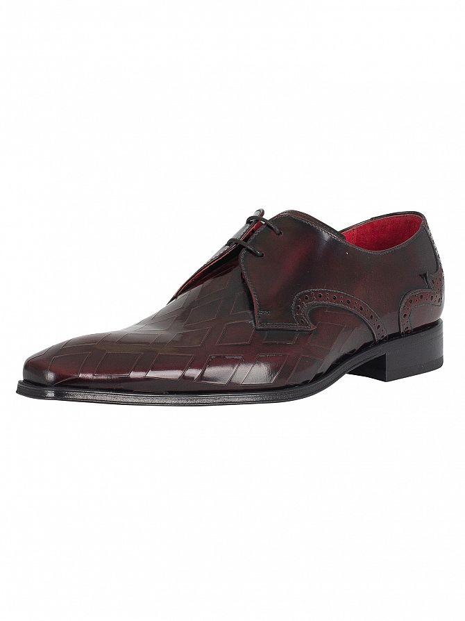 Jeffery West Burgundy Polished Lea Lazer Derby Shoes