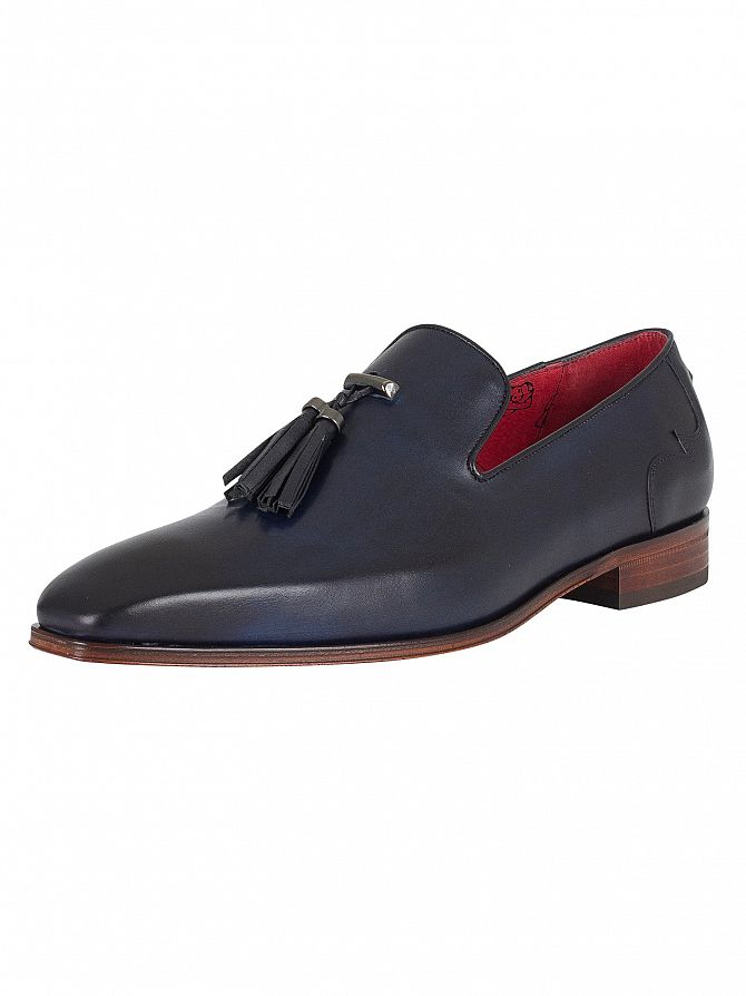 Jeffery West Dark Blue Leather Shoes