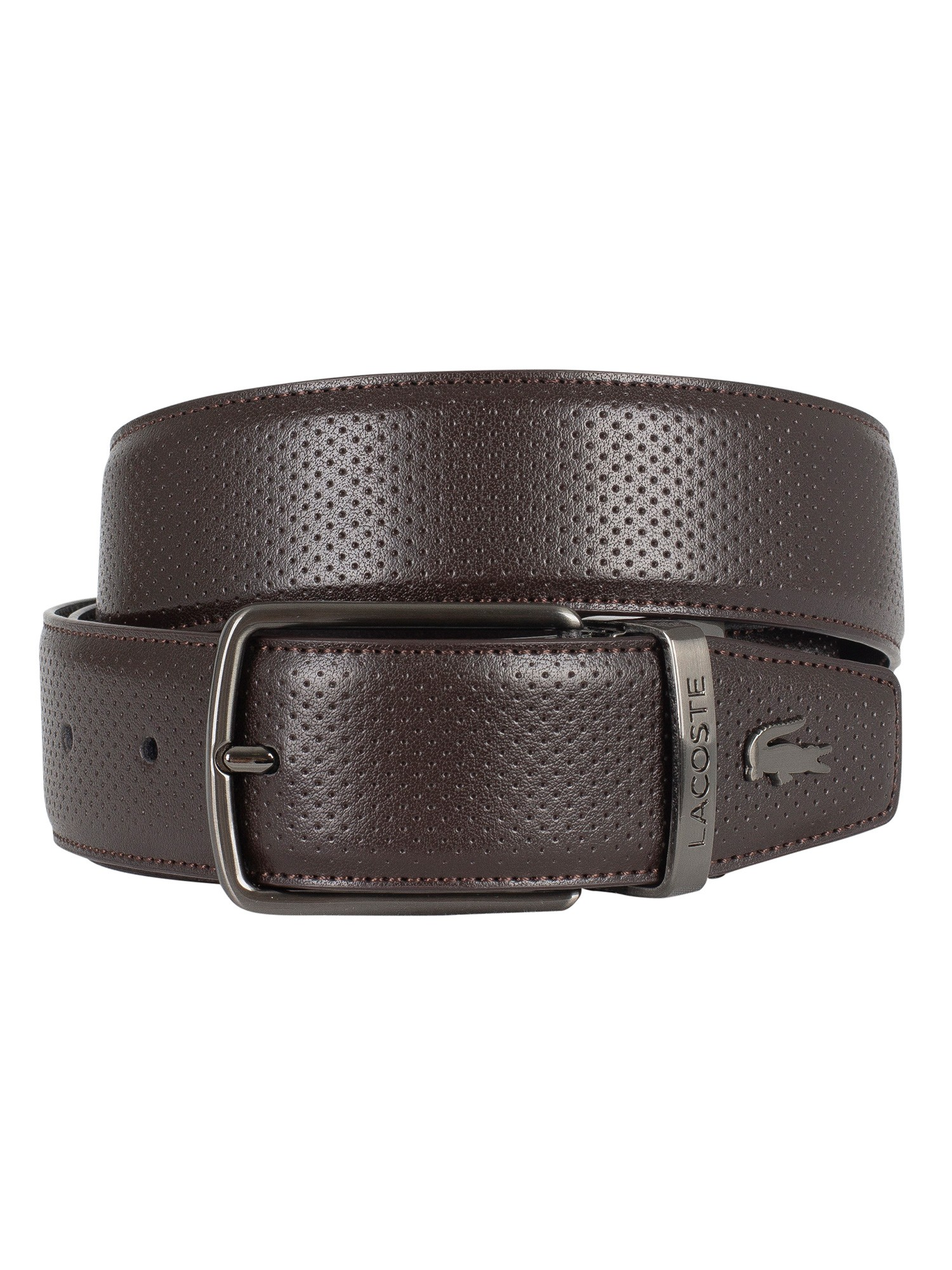 12639e02d08d2b Lacoste Brown Reversible Punched Leather Belt