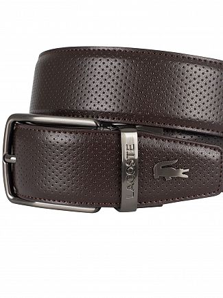 Lacoste Brown Reversible Punched Leather Belt