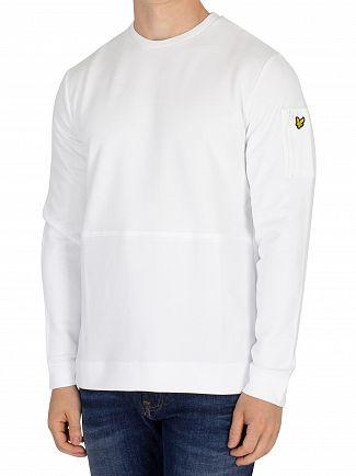Lyle & Scott White Fabric Mix Sweatshirt
