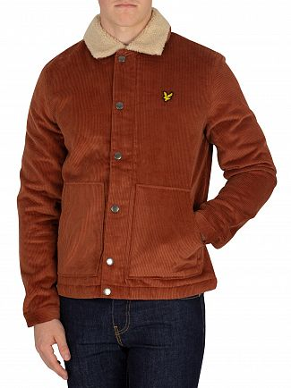 Lyle & Scott Brown Spice Jumbo Cord Shearling Jacket