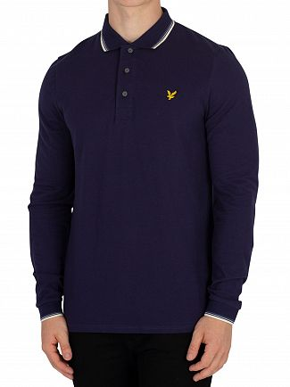 Lyle & Scott Navy Longsleeved Tipped Poloshirt