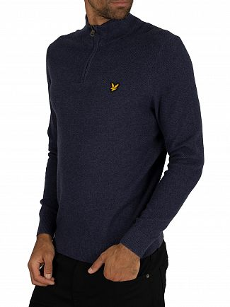 Lyle & Scott Dark Navy Marl Moss Stitch 1/4 Zip Jumper