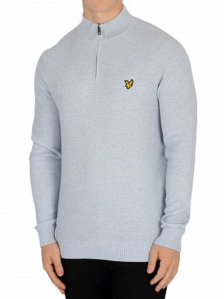 Lyle & Scott Blue Marl Moss Stitch 1/4 Zip Jumper