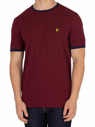 Lyle & Scott Claret Jug/Navy Ringer T-Shirt