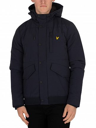 Lyle & Scott Dark Navy Wadded Bomber Jacket
