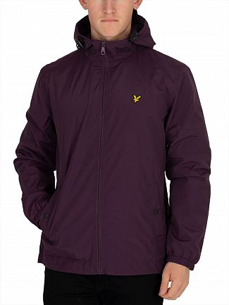 Lyle & Scott Deep Plum Zip Though Hooded Jacket