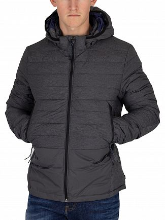 Scotch & Soda Black Melange Short Quilted Jacket