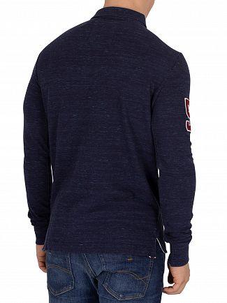 Superdry Montana Blue Grit Classic Longsleeved Pique Poloshirt