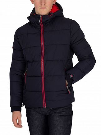 Superdry Navy/Bright Red Sports Puffer Jacket
