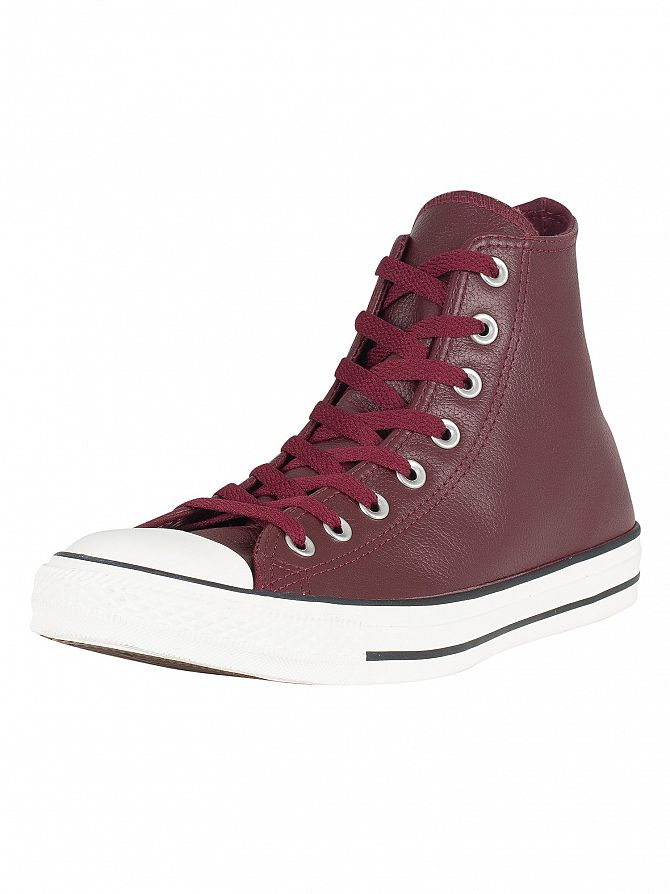 Converse Dark Burgundy CT All Star Hi Leather Trainers