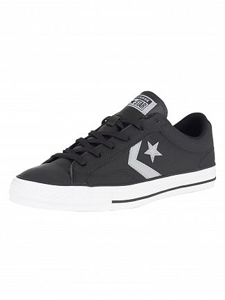 Converse Black/Wolf Grey White Star Player Ox Leather Trainers