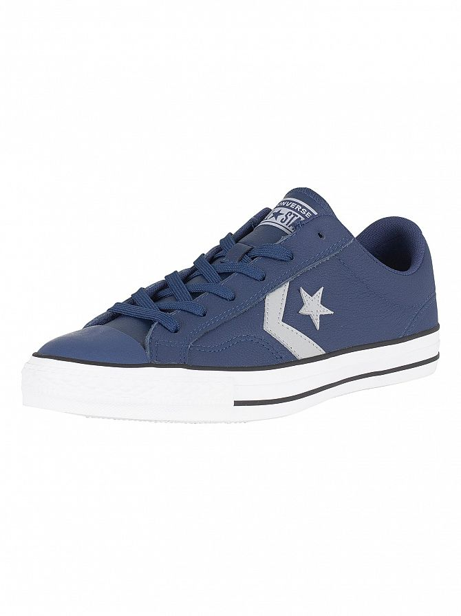 Converse Navy /Wolf Grey Star Player Ox Leather Trainers