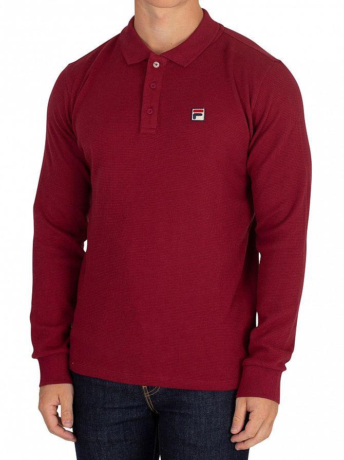 Fila Vintage Tibetan Red Bertoni Essential Longsleeved Slim Poloshirt