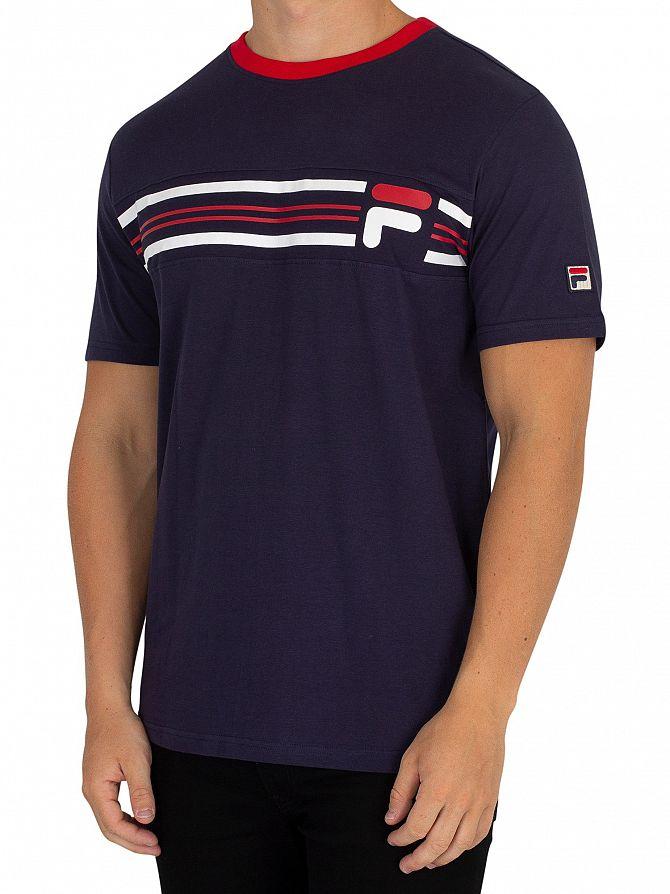 Fila Vintage Peacoat/Red Bruno 3 Cut & Sew Panel T-Shirt