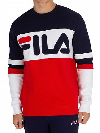 Fila Vintage Chinese Red/Peacoat/White Freddie Cut & Sew Oversized Sweatshirt