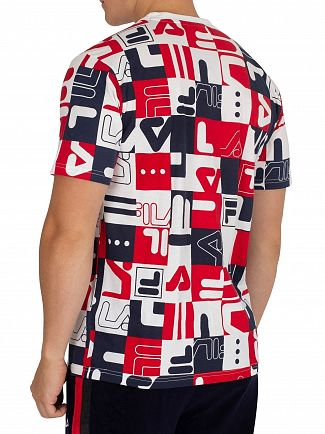 Fila Vintage White/Peacoat/Red Mylo Graphic All Over Print T-Shirt