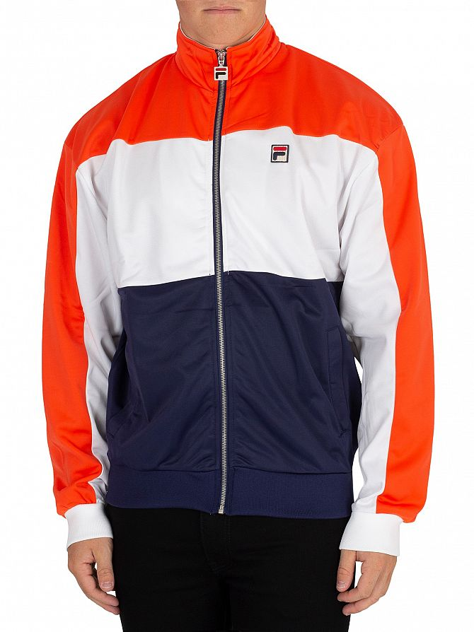 Fila White/Orange/Peacoat Sterling Cut & Sew Colour Block Track Jacket