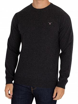 Gant Dark Charcoal Melange Super Fine Lambswool Knit