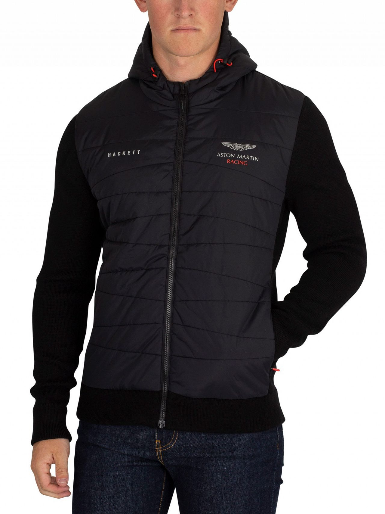 Hackett London Black Aston Martin Racing Quilted Jacket Standout
