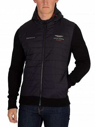 Hackett London Black Aston Martin Racing Quilted Jacket