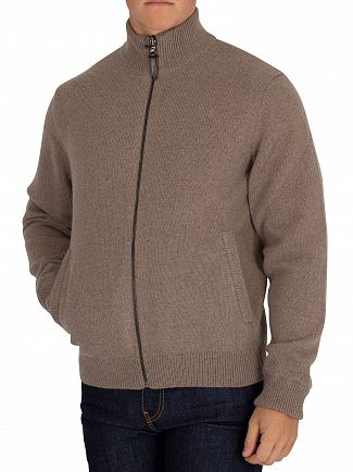 Hackett London Taupe Reversible Hybrid Zip Jumper