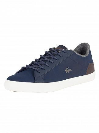 Lacoste Navy/Brown Lerond 318 2 CAM Leather Trainers