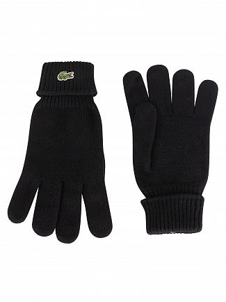 Lacoste Black Logo Gloves