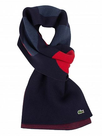 Lacoste Navy/Red Logo Scarf