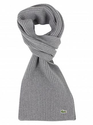 Lacoste Grey Ribbed Scarf