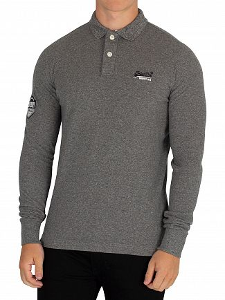 Superdry Hammer Grey Grit Classic Longsleeved Pique Poloshirt