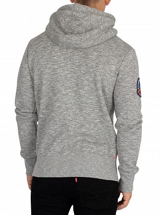 Superdry Storm Grey Grit Orange Label Zip Hoodie