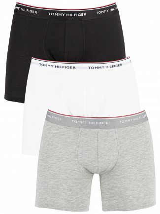 Tommy Hilfiger Grey Heather/Black/White 3 Pack Premium Essentials Boxer Briefs