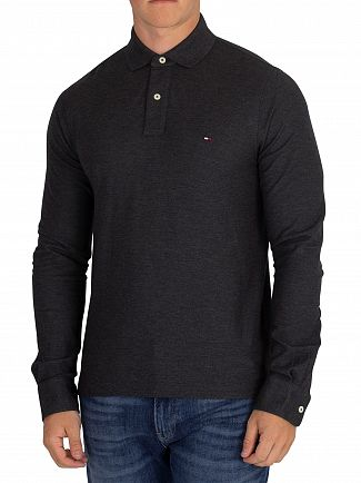 Tommy Hilfiger Charcoal Heather Longsleeved Slim Poloshirt