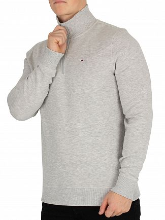 Tommy Jeans Light Grey Heather Essential Half Zip Knit