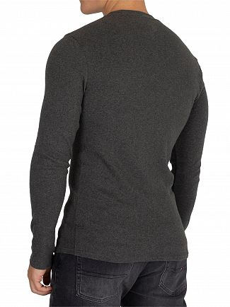 Tommy Jeans Dark Grey Heather Slim Rib Longsleeved T-Shirt